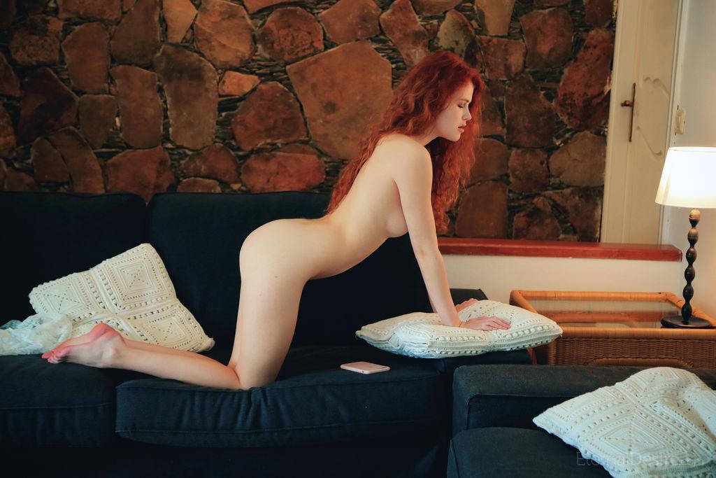 Adel C Masturbating on her couch